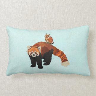 Red Panda & Owl Blue Mojo Pillow