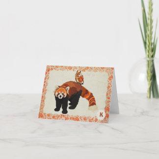 Red Panda & Owl Monogram Notecard