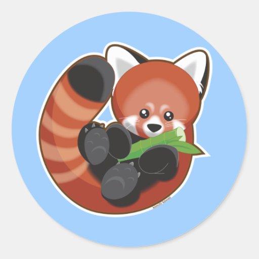 Red Panda Round Stickers