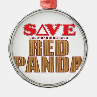 Red Panda Save Metal Ornament