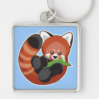 Red Panda Silver-Colored Square Keychain