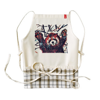 Red Panda Snow Day Heart Apron
