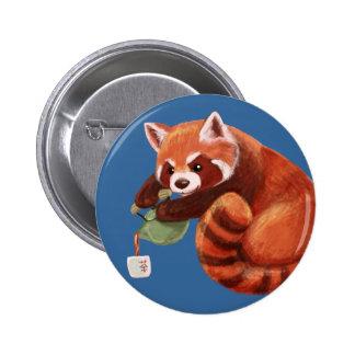 Red Panda Tea Time Pinback Button