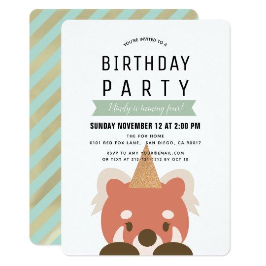 Red Pandas Simple Mint Green Birthday Invitation