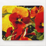 Red Pansies flowers Mouse Pad