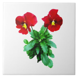 Red Pansy Duo Ceramic Tile