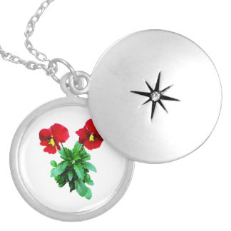 Red Pansy Duo Round Locket Necklace