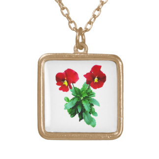 Red Pansy Duo Square Pendant Necklace