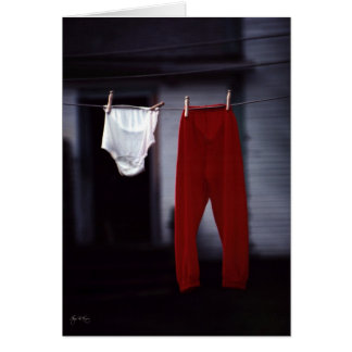 Red Pants on the Washline Card