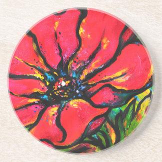 Red Papaver Drink Coaster