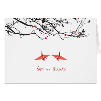 Red Paper Cranes Photo Wedding Thank You Note Card