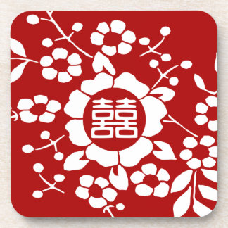 Red • Paper Cut Flowers • Double Happiness Beverage Coaster