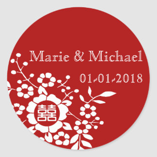 Red • Paper Cut Flowers • Double Happiness Classic Round Sticker