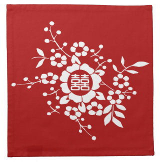 Red • Paper Cut Flowers • Double Happiness Cloth Napkin