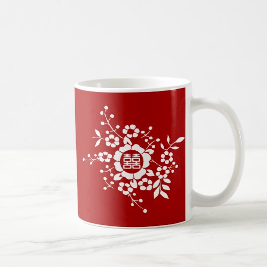 Red • Paper Cut Flowers • Double Happiness Coffee Mug