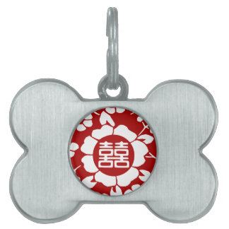 Red • Paper Cut Flowers • Double Happiness Pet Tags