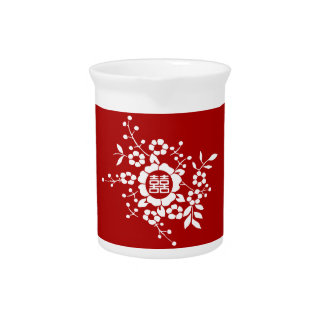 Red • Paper Cut Flowers • Double Happiness Beverage Pitchers