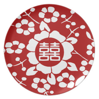 Red • Paper Cut Flowers • Double Happiness Party Plate