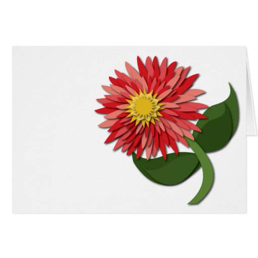 Red Paper Flower Notecard Cards