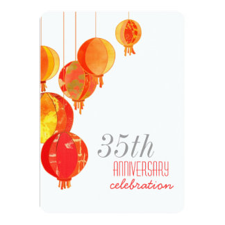 Red Paper Lanterns 35th Wedding Anniversary Card