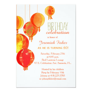 Red Paper Lanterns 60Th Birthday Party Card