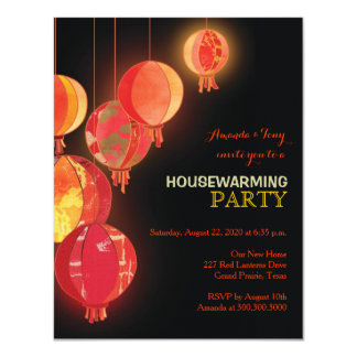Red Paper Lanterns Housewarming Party Invitations