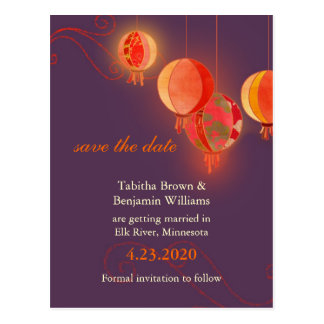 Red Paper Lanterns Purple Wedding Save the Date Postcard