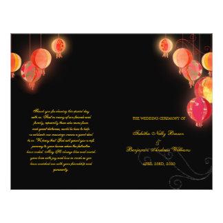 Red Paper Lanterns Wedding Bi Fold Program