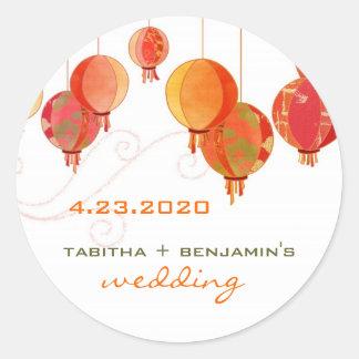 Red Paper Lanterns Wedding Invitation Sticker