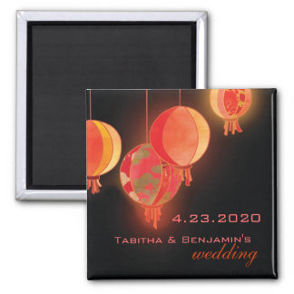 Red Paper Lanterns Wedding Save the Date 2 Inch Square Magnet