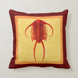 Red Paraceraurus Fossil Trilobite Throw Pillow