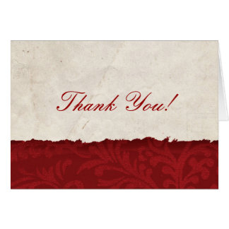 Red Parchment Thank You Card