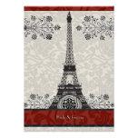 Red Paris Damask Eiffel Tower Wedding Invite
