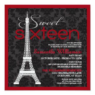 Red Paris Sweet 16 Invitations