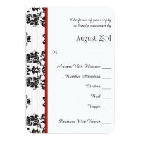 Red Parisian Eiffel Tower RSVP Wedding Card