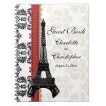 Red Parisian Eiffel Tower Wedding Guest Book Spiral Notebooks