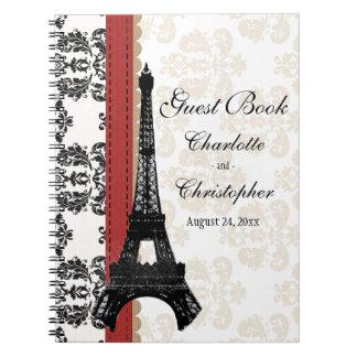 Red Parisian Eiffel Tower Wedding Guest Book Spiral Notebook