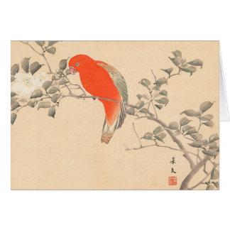 Red Parrot and White Flower Matsumoto Keibun Card