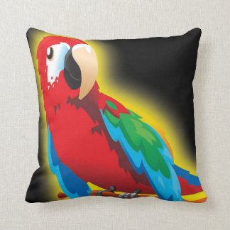 Red Parrot Black Throw Pillow