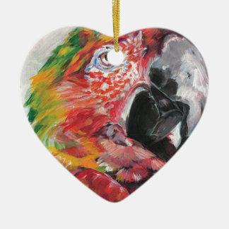Red Parrot Ceramic Ornament
