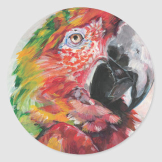 Red Parrot Classic Round Sticker