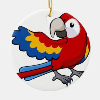 Red parrot illustration ceramic ornament