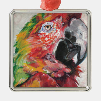 Red Parrot Metal Ornament