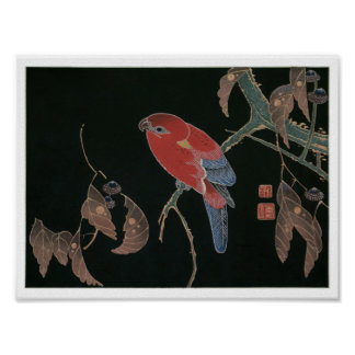 Red Parrot on the Branch of a Tree, Jakuchū Poster