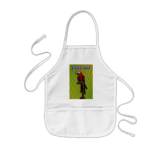 Red Parrot & Palms infant apron - customized
