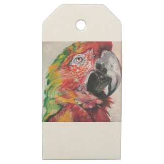Red Parrot Wooden Gift Tags