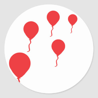 red party balloons icon classic round sticker