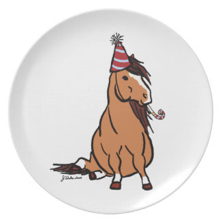 Red Party Pony Dinner Plate