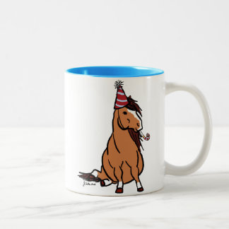 Red Party Pony Two-Tone Coffee Mug