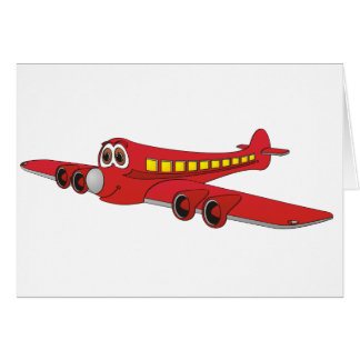 Red Passenger Jet Cartoon Card